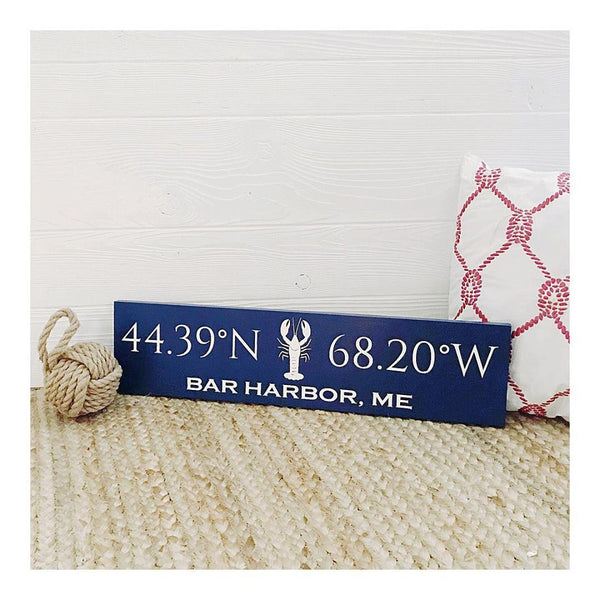 Custom Coordinates Handcrafted Wooden Sign - Large