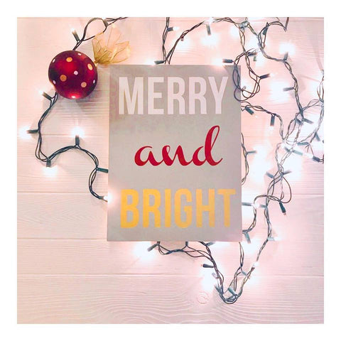 Merry & Bright Handcrafted Wooden Block Sign