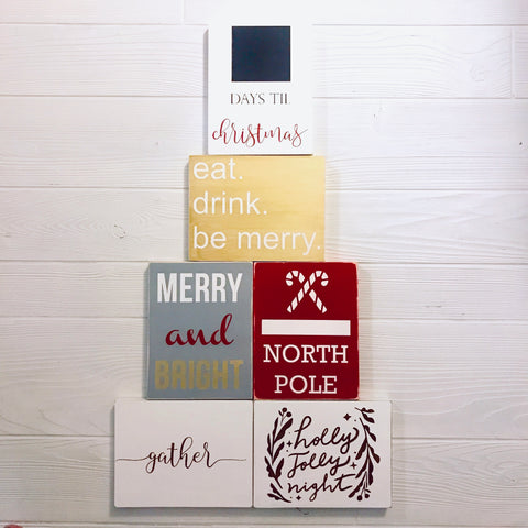 Seasonal Handcrafted Wooden Block Signs