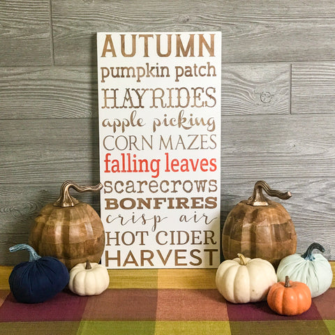Fall Fun Subway Art Handcrafted Wooden Sign