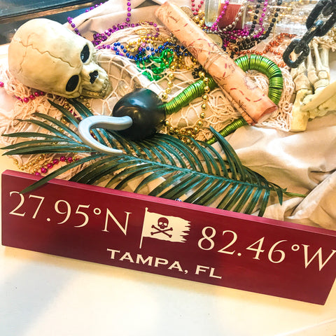 Gasparilla Coordinates Handcrafted Wooden Sign