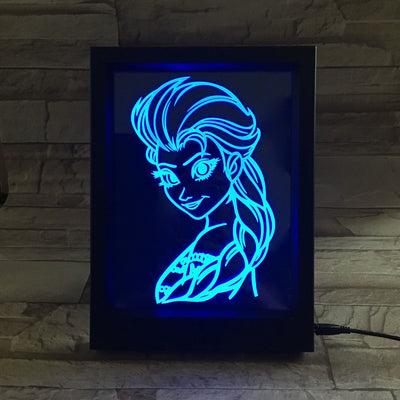 3D Snow Queen LED Photo Frame Lamp - 3D Led Lamps