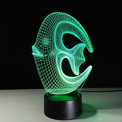 3D Coral Fish Illusion Lamp With Free Extra Fish Plate - 3D Led Lamps