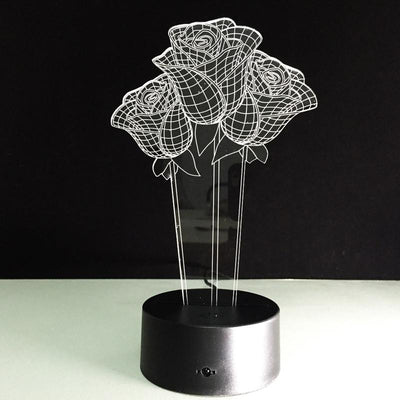 3D Roses Illusion Lamp - 3D Led Lamps
