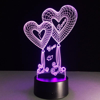 3D Double Heart LED Lamp - 3D Led Lamps