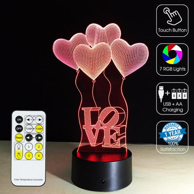 3D Heart Ballons LED Lamp - 3D Led Lamps