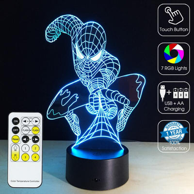 3D Slinging Spiderman LED Illusion Lamp - 3D Led Lamps