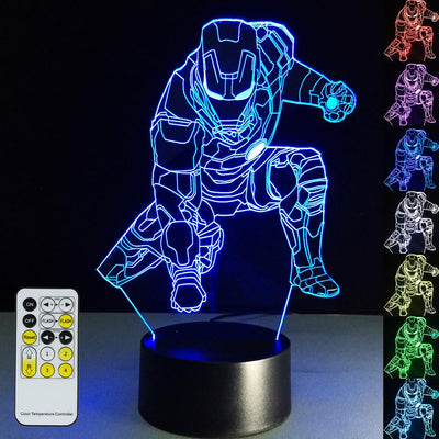 3D Iron Man Illusion Lamp Multiple Colors Designs - 3D Led Lamps