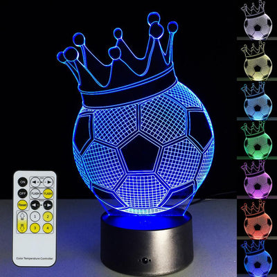 3D Crown Football Illusion Lamp - 3D Led Lamps