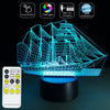 3D Sailing Boat LED Lamp - 3D Led Lamps