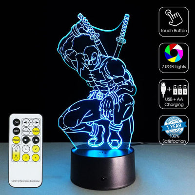 3D Deadpool LED Illusion Lamp - 3D Led Lamps