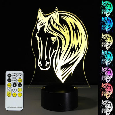 3D Horse Head Illusion Lamp - 3D Led Lamps