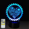 3D Love Gears Illusion Lamp - 3D Led Lamps