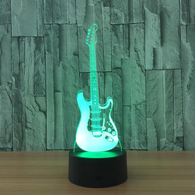 3D Electronic Guitar Illusion LED Lamp Multiple Colors - 3D Led Lamps