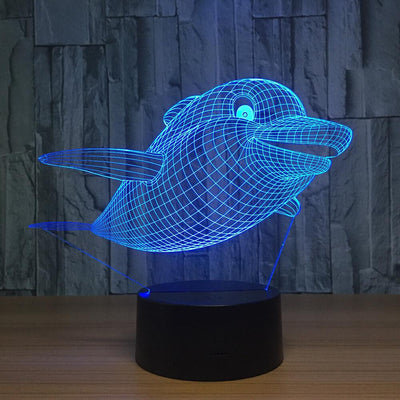 3D Swimming Dolphin Illusion LED Lamp - 3D Led Lamps