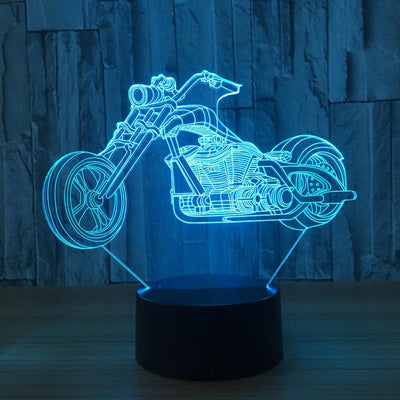 3D Harley-Davidson Inspired Motor Illusion Lamp plus free Biker Plate - 3D Led Lamps