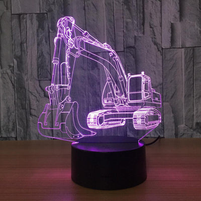 3D Excavator Digger Illusion Lamp - 3D Led Lamps