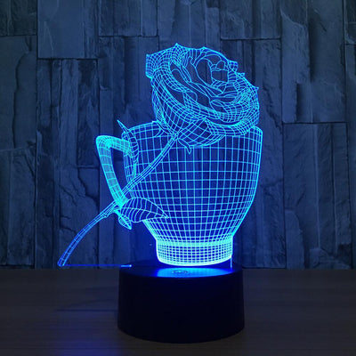 3D Rose Cup Illusion LED Lamp - 3D Led Lamps