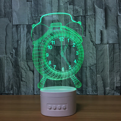 3D Bluetooth Clock lamp - 3D Led Lamps