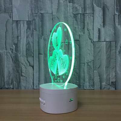 3D Bluetooth Love Hearts lamp - 3D Led Lamps