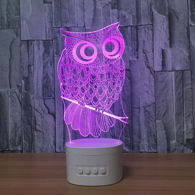 3D Bluetooth Owl lamp - 3D Led Lamps