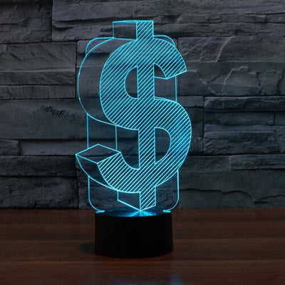 3D USD Dollar Symbol Illusion LED Lamp Multiple Colors - 3D Led Lamps