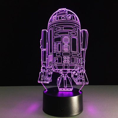 Star War Inspirated 3D R2-D2 Illusion Night Lamp - 3D Led Lamps