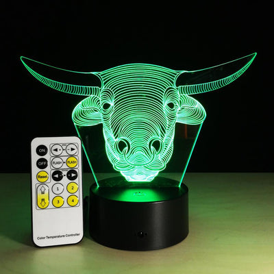 3D Bull LED Lamp - 3D Led Lamps
