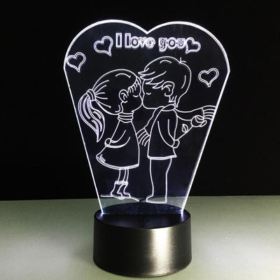 3D I Love U LED Lamp - 3D Led Lamps