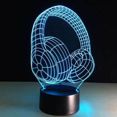 3D Headset Headphone LED Lamp - 3D Led Lamps
