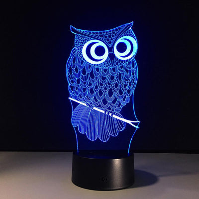 3D Night Owl LED Lamp - 3D Led Lamps
