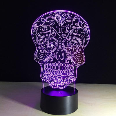 3D Flower Skull LED Lamp - 3D Led Lamps