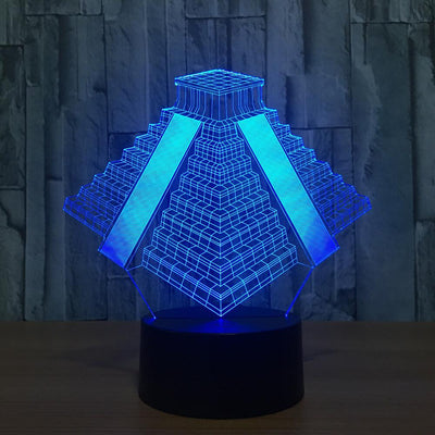3D El Castillo Maya Pyramid Illusion LED Lamp - 3D Led Lamps