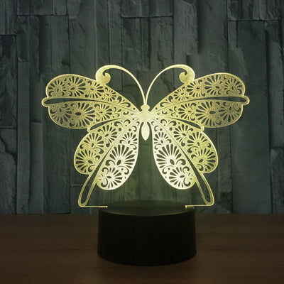 3D Butterfly Illusion LED Lamp Multiple Colors - 3D Led Lamps
