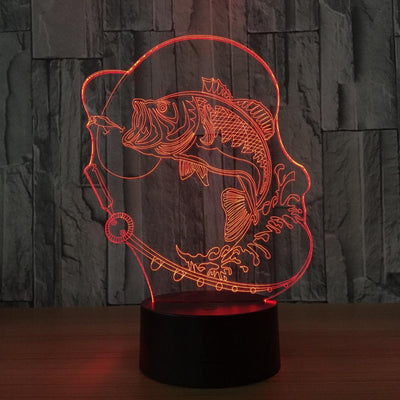 3D Fishing Illusion LED Lamp With Free Coral Fish Lamp Plate - 3D Led Lamps