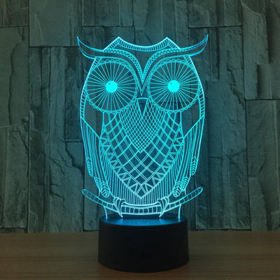 3D Illusion Abstract Owl LED Lamp - 3D Led Lamps