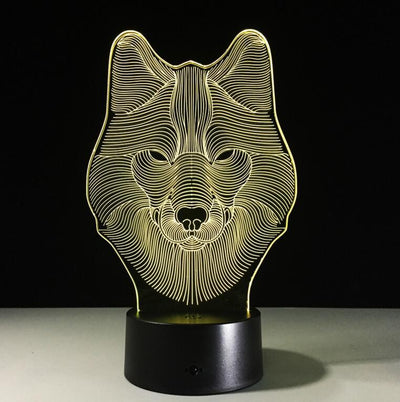 3D Wolf Illusion LED Lamp Multiple Colors - 3D Led Lamps