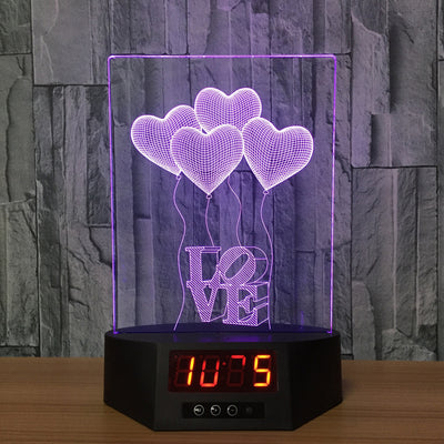 3D Digital Clock Love Balloons Lamp - 3D Led Lamps