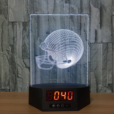 3D Digital Clock Footy Helmet Lamp - 3D Led Lamps
