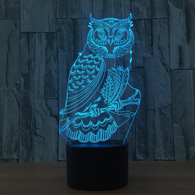 3D Illusion Owl LED Lamp - 3D Led Lamps