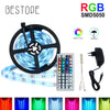 5M RGB LED Strip Light 5050 SMD Diode RGB Tape Waterproof Flexible LED Ribbon 30D/M With Remote Controller + DC12V Power Adapter