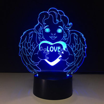3D Lovely Angel Illusion LED Lamp - 3D Led Lamps