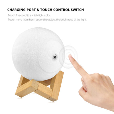 Novelty Rechargeable 3D Print Moon lamp 2 Colors Touch Switch Change LED Bed Desk Moon Night light Home Decoration Creative Gift - 3D Led Lamps