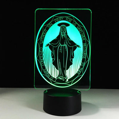 3D Goddess Virgin Mary Lamp Illusion Light Multiple Colors - 3D Led Lamps