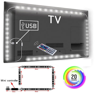 5V 1M/2M Nowaterproof RGB 5050SMD Led Strip Can Change Color For TV Background Lighting With USB IR Controller
