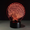 3D Peacock Peafowl Illusion Night Lamp - 3D Led Lamps