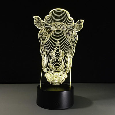 3D Rhino Illusion Night Light - 3D Led Lamps
