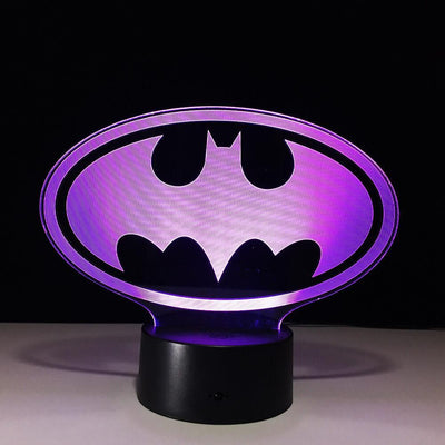 3D Batman Logo Illusion LED Lamp Multiple Colors - 3D Led Lamps