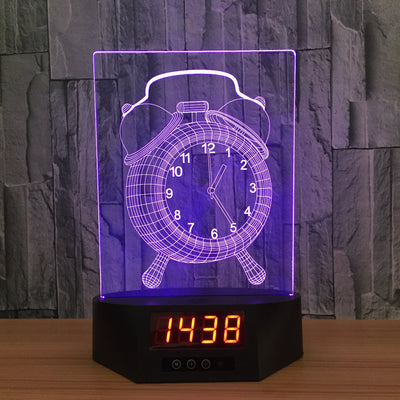 3D Digital Clock Vintage Clock Lamp - 3D Led Lamps