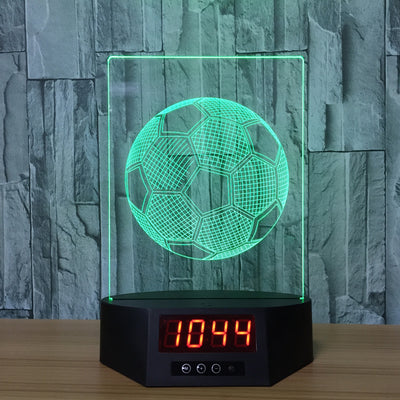 3D Digital Clock Soccer Ball Lamp - 3D Led Lamps